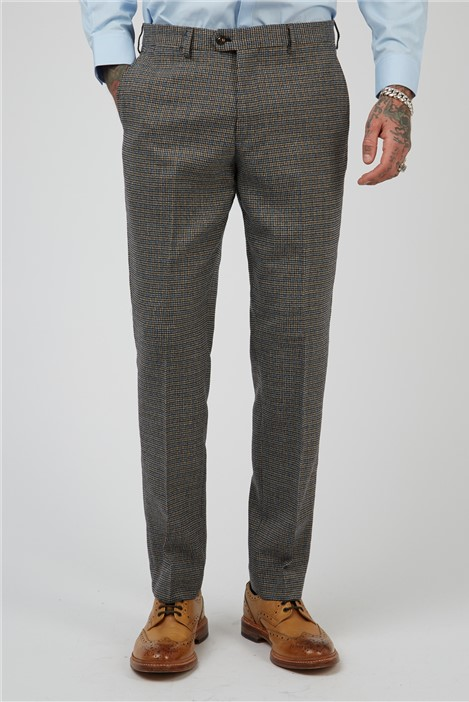 Marc Darcy Hardwick Tan Navy Check Tailored Fit Suit Trousers