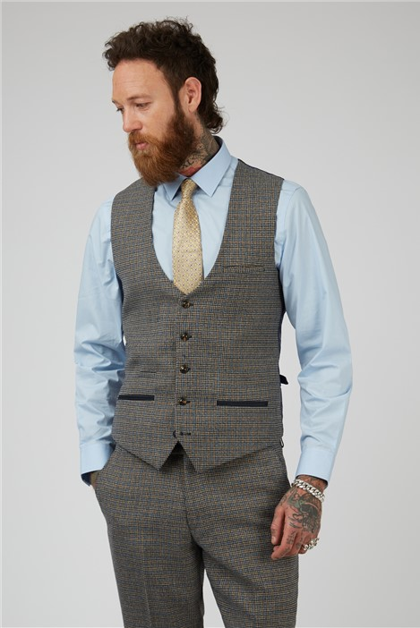 Marc Darcy Hardwick Tan Navy Check tailored Fit Suit Waistcoat