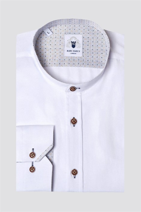 Marc Darcy Archie White Grandad Collar Classic Fit Shirt
