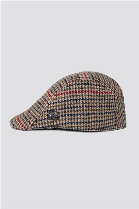 Marc Darcy Edward Olive Check Flat Cap