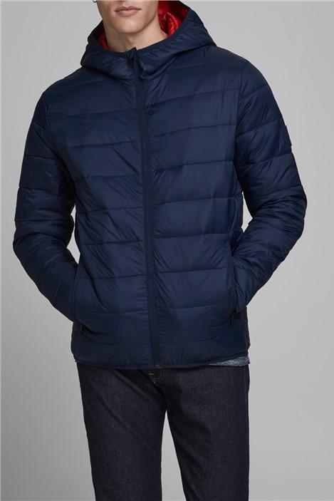 Jack & Jones Navy Hooded Puffer Jacket