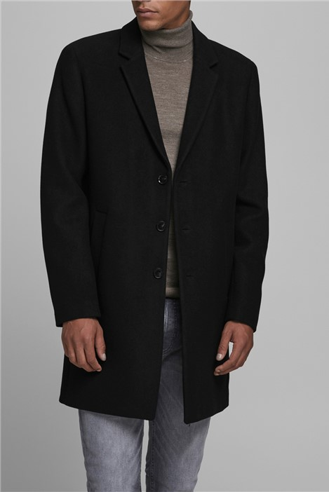 Jack & Jones Black Wool Overcoat
