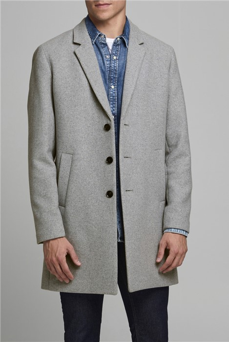 Jack & Jones Grey Wool Blend Overcoat