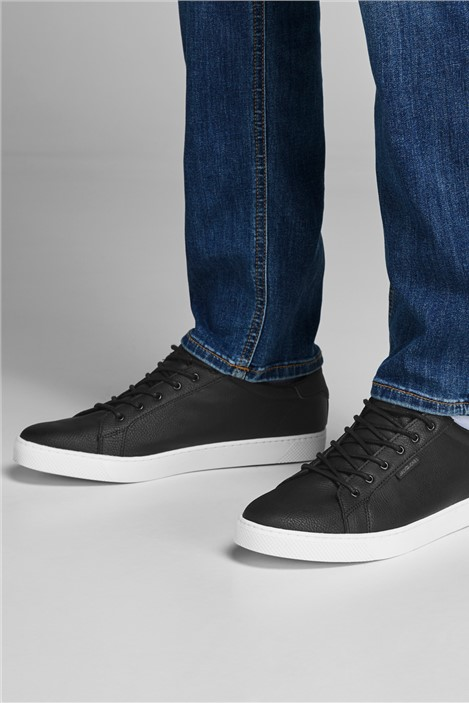 Jack & Jones Black Faux Leather Trent Trainer