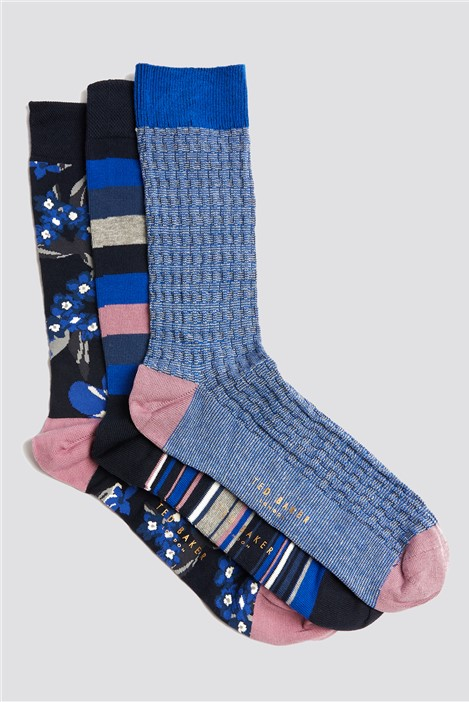 Ted Baker Three Pack Assorted Socks