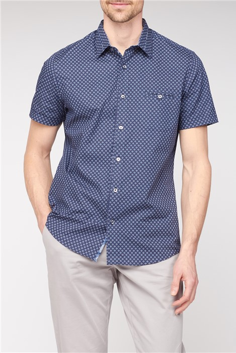 Jeff Banks Short Sleeve Navy Geometric Print Shirt