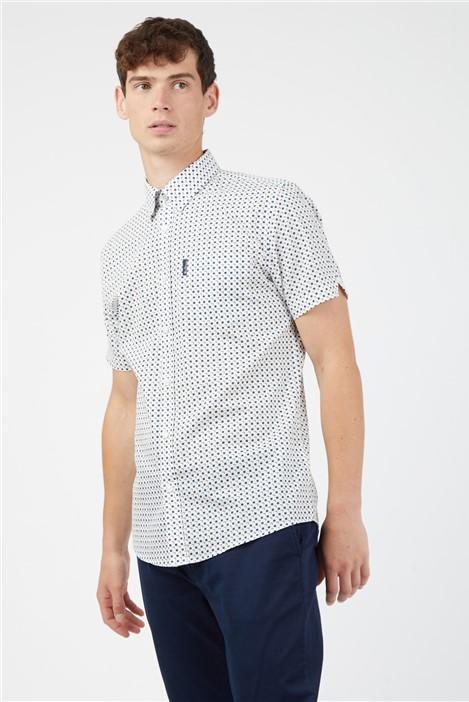 Ben Sherman White Casual Short Sleeved Scattered Square Print Shirt