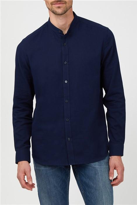 Jeff Banks Navy Long Sleeve Slub Grandad Shirt