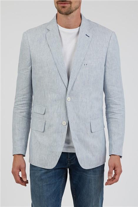 Jeff Banks Blue Fine Stripe Linen Blazer