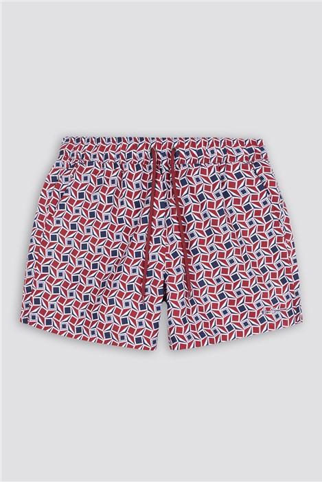 Ben Sherman Red Blue Geo Long Beach Swim Shorts in Shorter Length