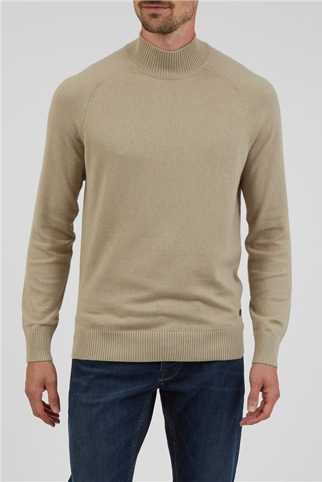 Jeff Banks Plain Stone Knitted High Turtle Neck Jumper