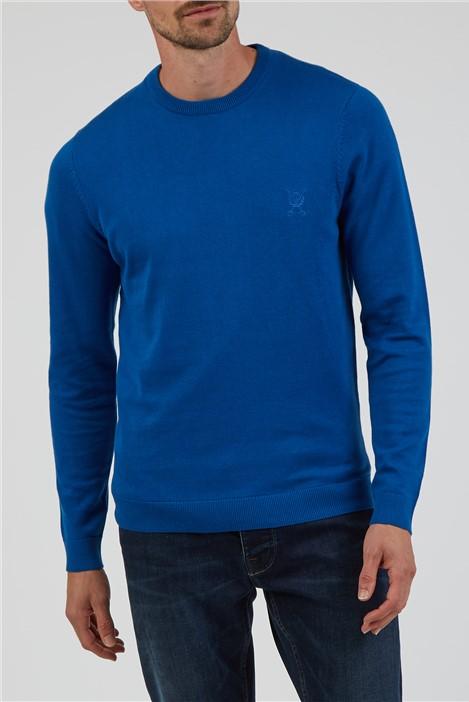 Jeff Banks Plain Bright Blue Crew Neck Knitted Jumper