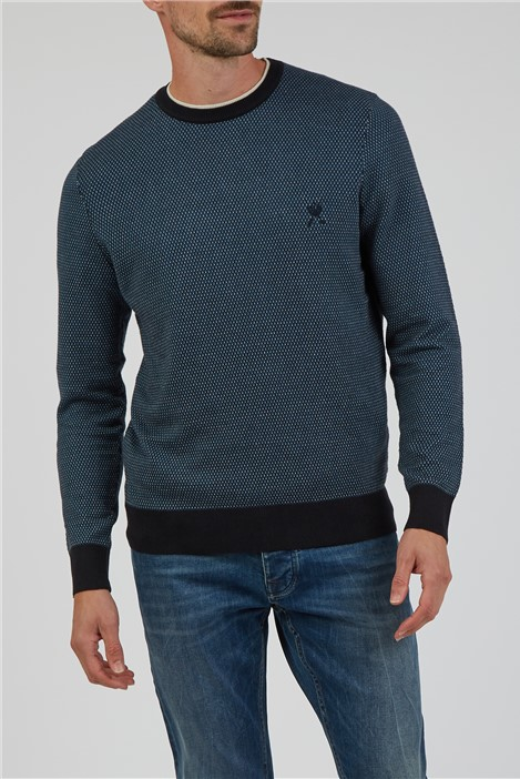 Jeff Banks Navy Dotted Double Crew Neck Jumper
