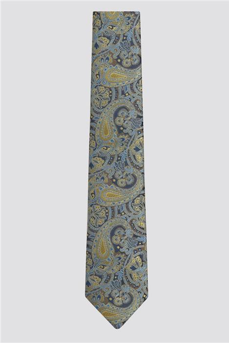 Racing Green Gold & Navy Paisley Tie