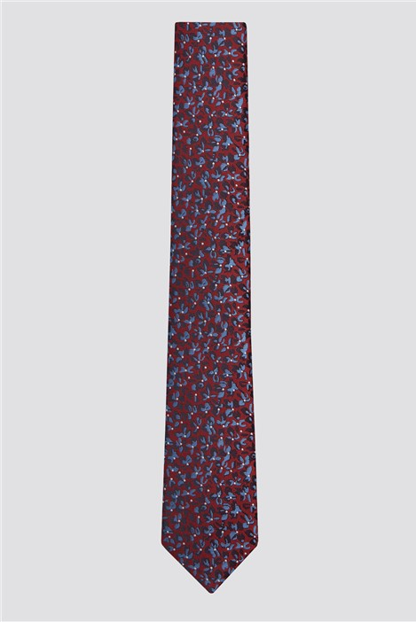 Racing Green Red Smudge Floral Tie