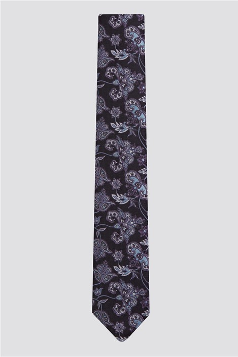 Racing Green Purple Ornate Floral Tie