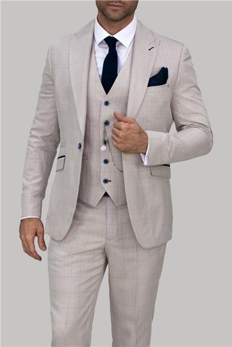 House of Cavani Cream Checked Suit