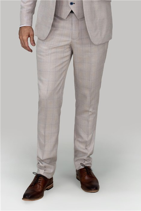 House of Cavani Cream Checked Trousers
