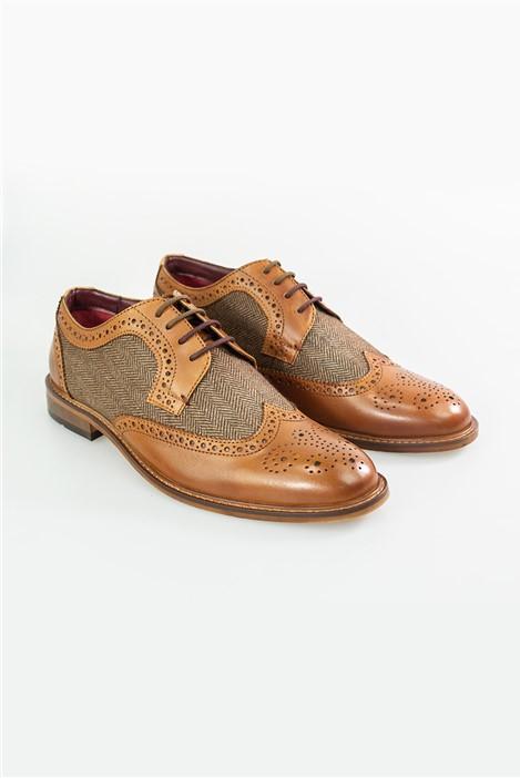House of Cavani Tan Coltrane Brogue Shoes