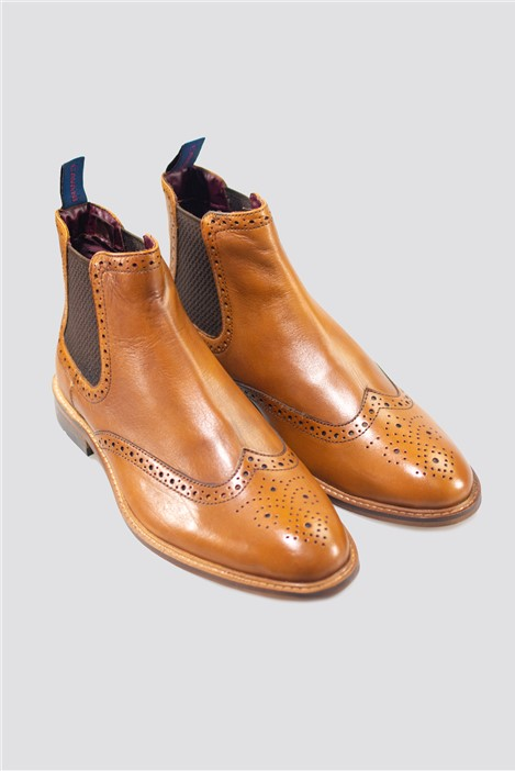 House of Cavani Tan Porter Brogue Boots