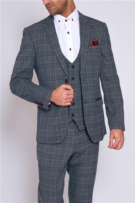 Marc Darcy Enzo Blue Grey Check Three Piece Suit