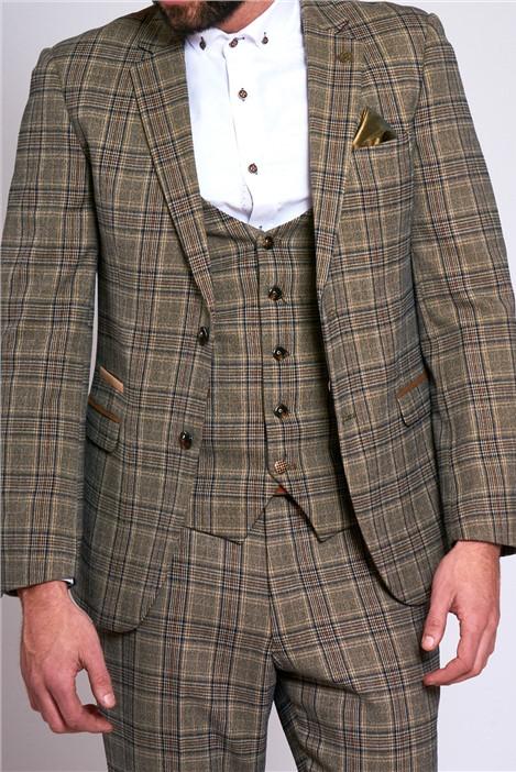 Marc Darcy Enzo Tan Check Three Piece Suit