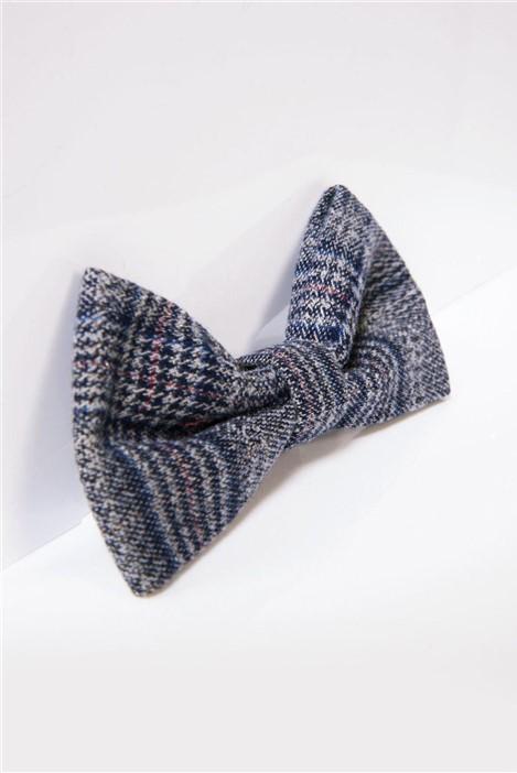 Marc Darcy Enzo Blue Grey Checked Bow Tie