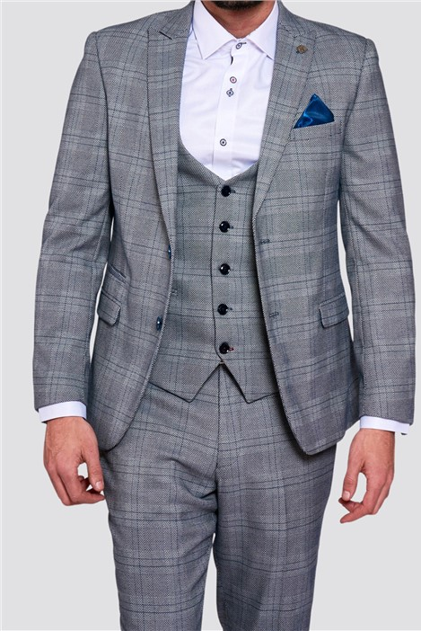 Marc Darcy Jerry Grey Check Suit Jacket