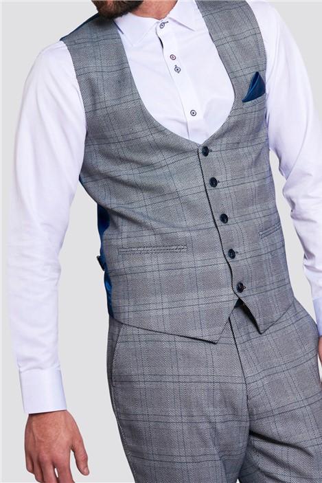 Marc Darcy Jerry Grey Check Waistcoat