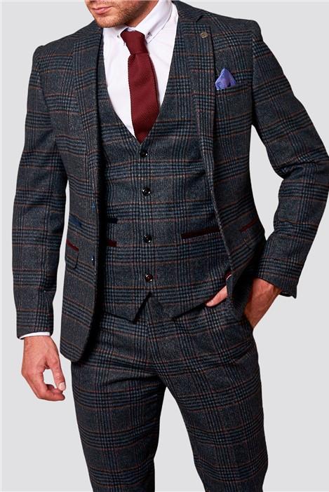 Marc Darcy Luca Navy Tweed Check Three Piece Suit