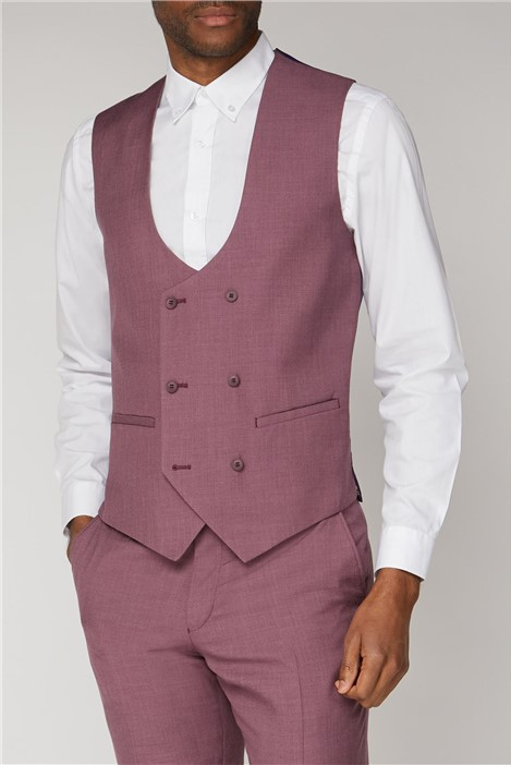 Antique Rogue Raspberry Double Breasted Slim Fit Waistcoat