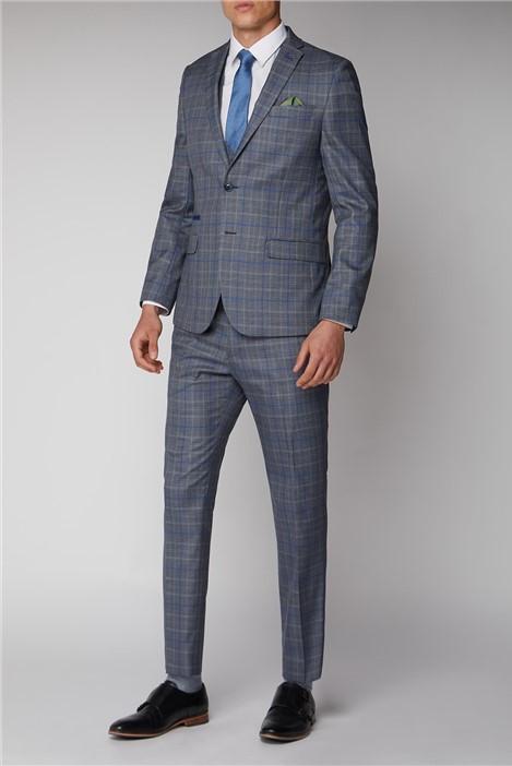 Antique Rogue Grey Blue Check Slim Fit Suit
