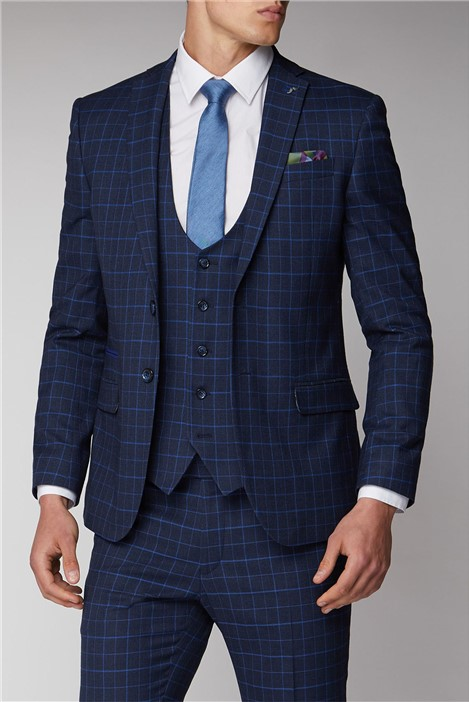 Antique Rogue Navy and Bright Blue Check Suit