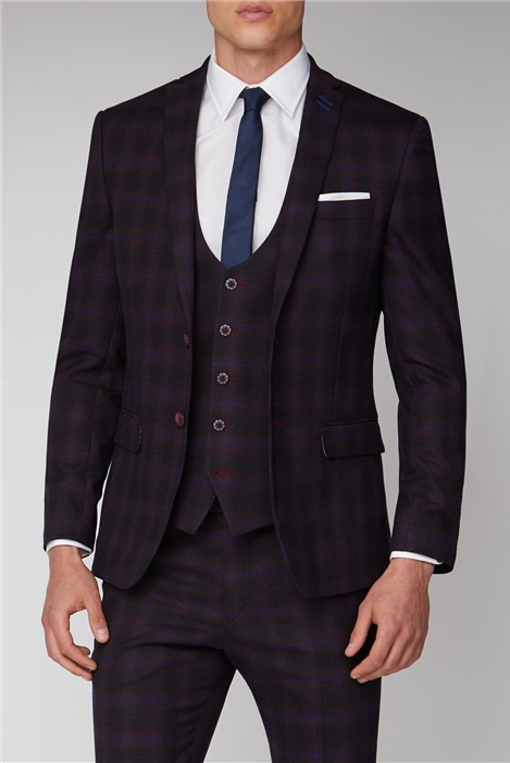 Antique Rogue Burgundy and Navy Blue Check Suit