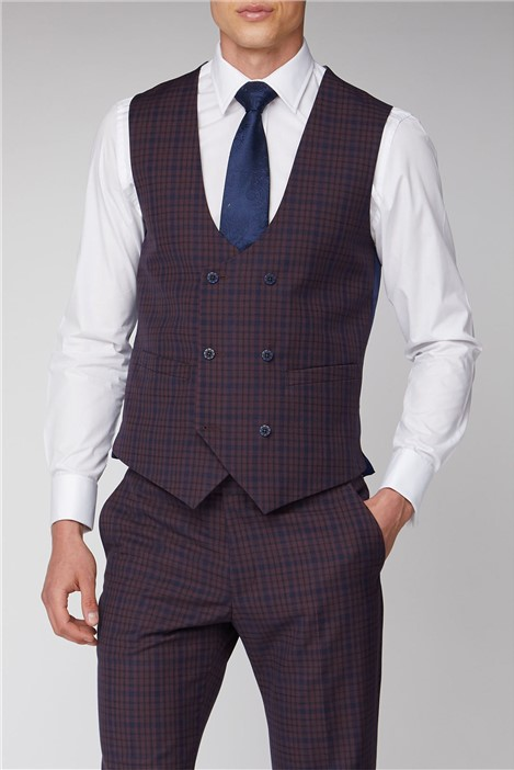 Antique Rogue Pink and Blue Check Waistcoat