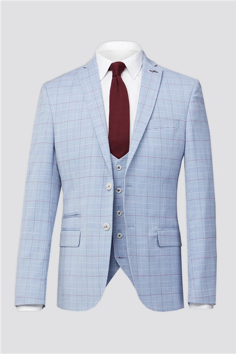Antique Rogue Pale Blue With Raspberry Over Check Suit