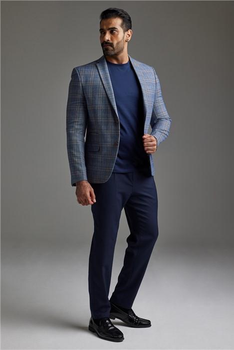 Antique Rogue Light Blue Tweed Check Suit