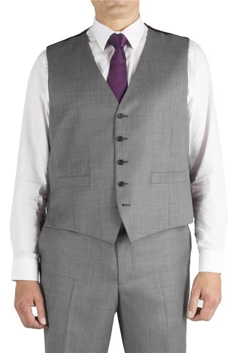 British Tailor Big+Tall Grey Sharkskin Regular Fit Waistcoat