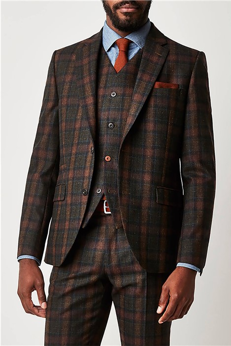 Gibson London Green Tartan Check Slim Fit Suit Jacket