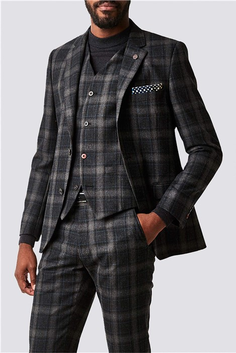 Gibson London Charcoal Tartan Check Slim Fit Suit