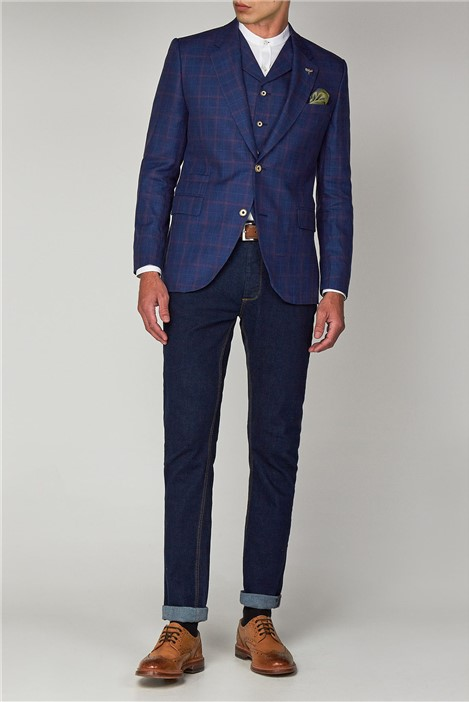 Gibson London Blue Linen Check Jacket
