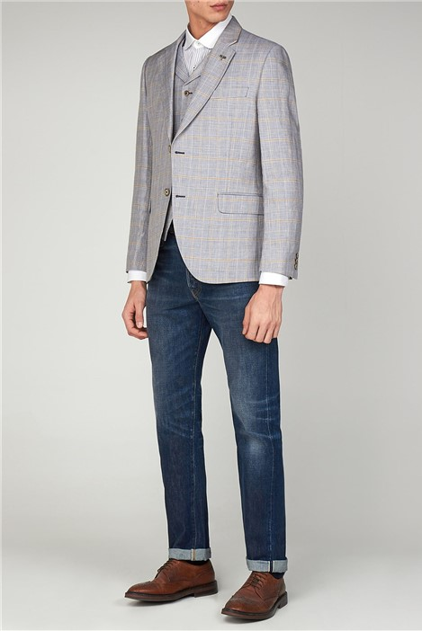 Gibson London Pale Blue Linen Check Jacket