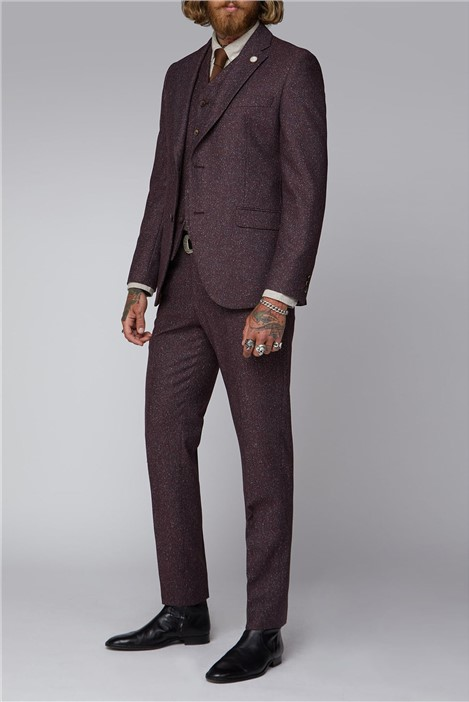 Gibson London Berry Speckle Three Piece Tweed Suit