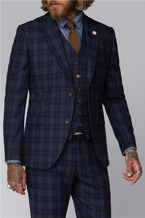Gibson London Blue and Brown Tartan Check Suit