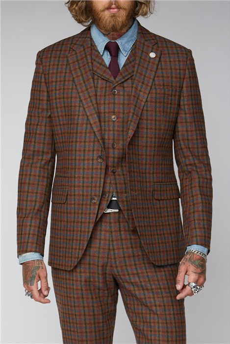 Gibson London Tan, Teal and Orange Check Suit