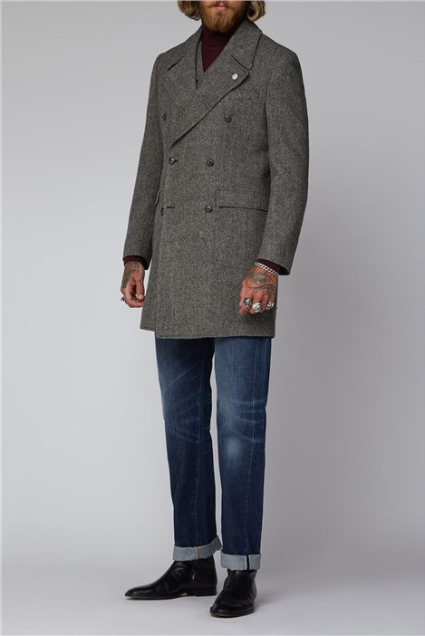 Gibson London Charcoal and Ecru Herringbone Overcoat