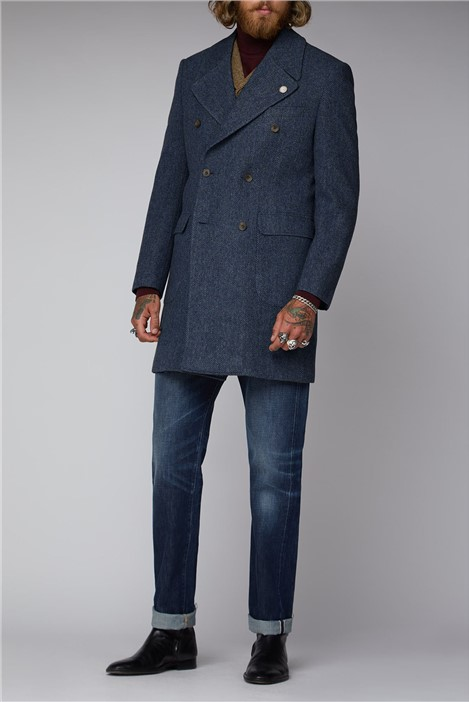 Gibson London Navy Herringbone Overcoat