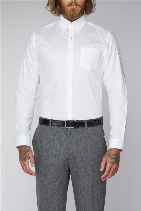 Gibson London White Plain Oxford Weave Shirt
