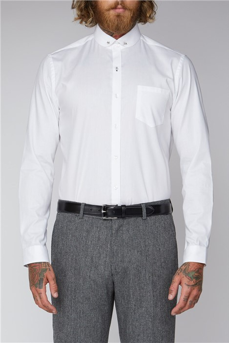 Gibson London White Plain Oxford Pin Shirt