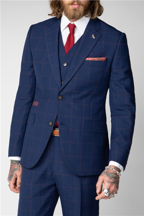 Gibson London Navy and Burgundy windowpane check suit